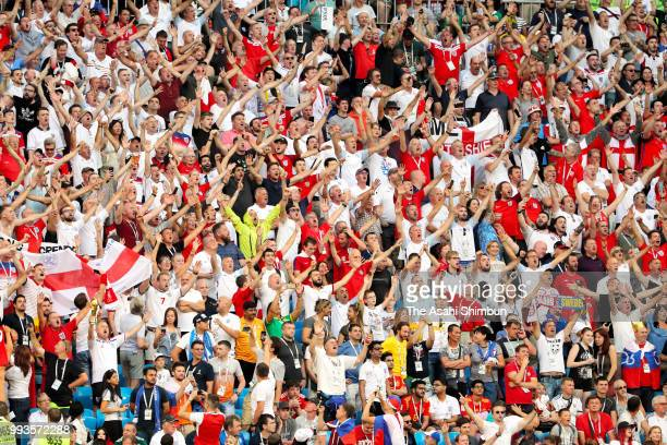 England supporters celebrate their team's 20 victory in the 2018 FIFA World Cup Russia Quarter Final match between Sweden and England at Samara Arena...