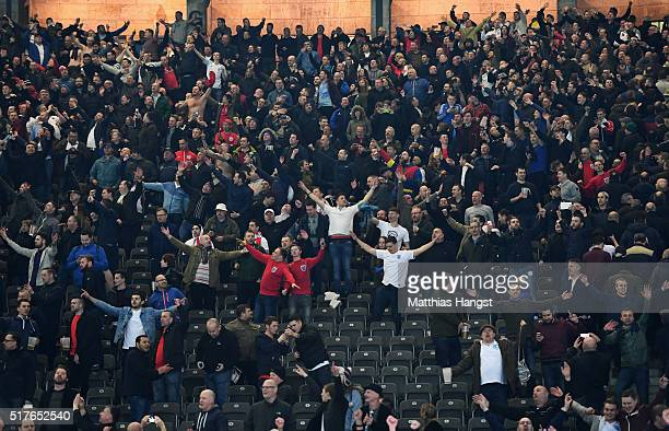 England supporters celebrate their team's 32 win in the International Friendly match between Germany and England at Olympiastadion on March 26 2016...