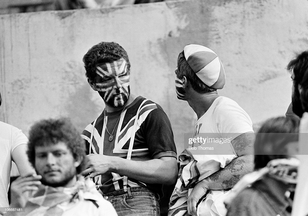 England supporters during the European Championship match between Belgium and England at the Stadio Communale in Turin, 12th June 1980. The match ended 1-1.