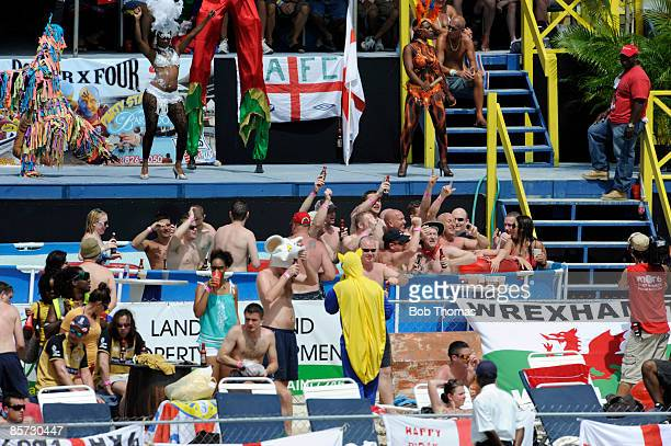 England supporters enjoying the beach area of the ground during day three of the 4th Test between The West Indies and England played at The...