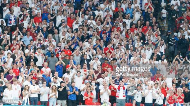 England supporters in full tribune during the UEFA Euro 2020 Championship Final between Italy and England at Wembley Stadium on July 11, 2021 in...