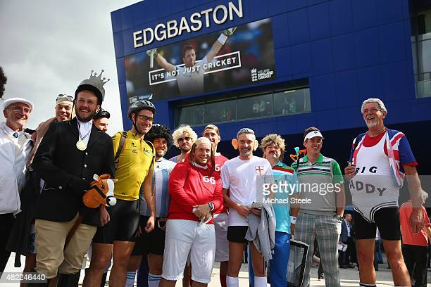 England supporters in sporting fancy dress gather outside the stadium ahead of day one of the 3rd Investec Ashes Test match between England and...
