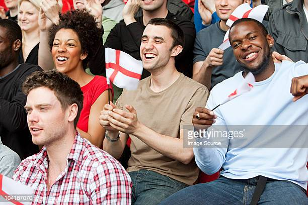 england supporters with flags - england football stock pictures, royalty-free photos & images