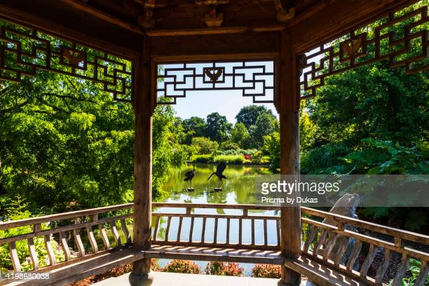 England, Surrey, Guildford, Wisley, The Royal Horticultural Society Garden, Seven Acres Pond and The Japanese Pagoda, 30064301.