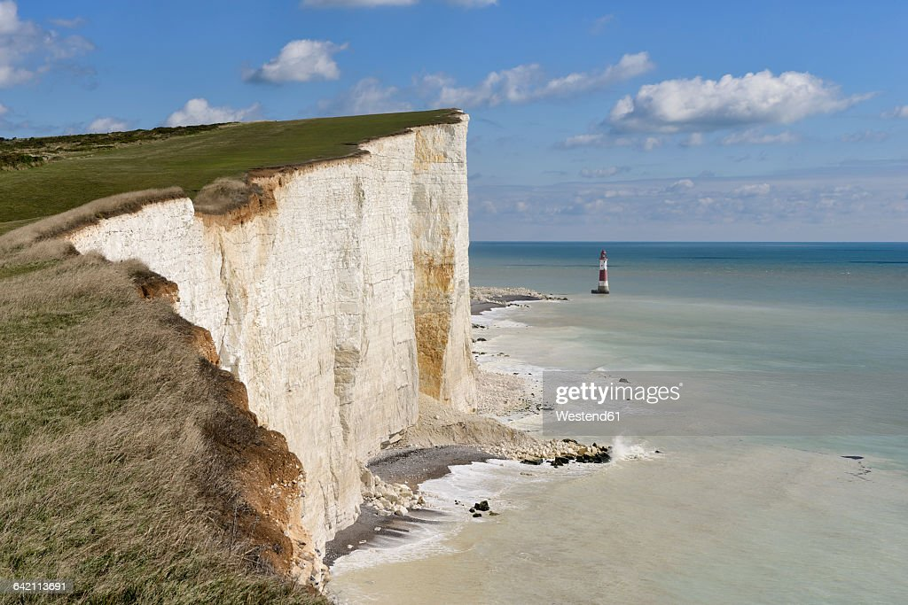 England, Sussex, Eastbourne, Seven Sisters Country Park, Beachy Head, Lighthouse and Seven Sisters Chalk Cliffs : Stock Photo