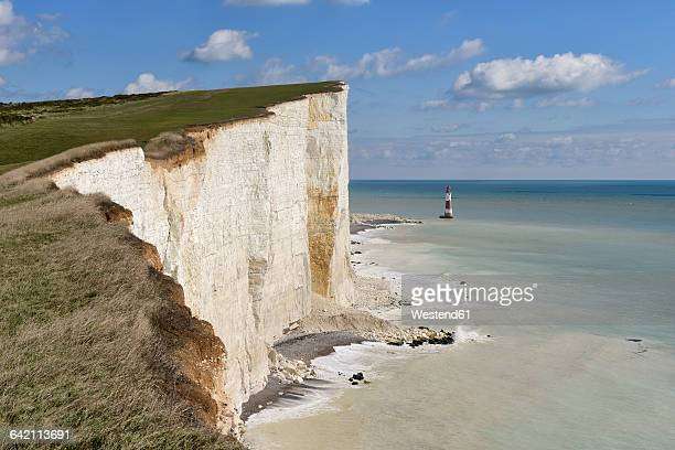 England, Sussex, Eastbourne, Seven Sisters Country Park, Beachy Head, Lighthouse and Seven Sisters Chalk Cliffs