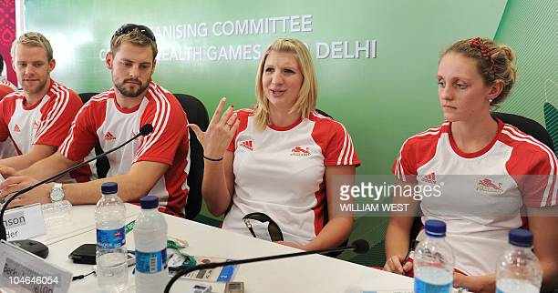 England swimmer Rebecca Adlington and other team members talk to the media at the athlete's village saying that pulling out of the troubled Games was...