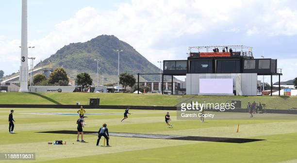 England take part in a fielding drill during a nets session at the Bay Oval on November 20 2019 in Mount Maunganui New Zealand