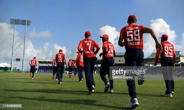 England take the field ahead of the 3rd Twenty20 International match between England and West Indies at Warner Park on March 10 2019 in Basseterre St...