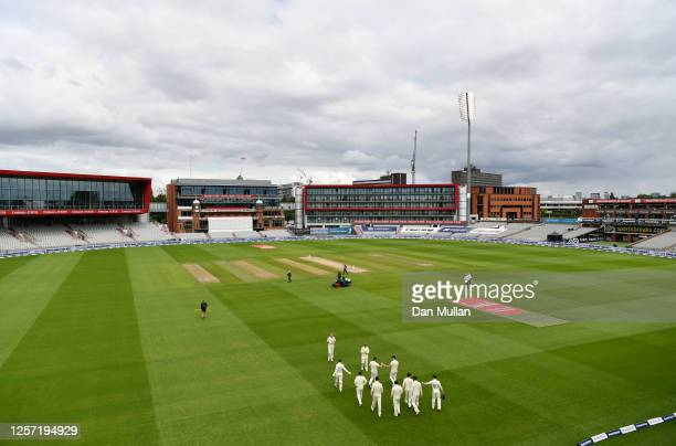 England take to the field during Day Five of the 2nd Test Match in the #RaiseTheBat Series between England and The West Indies at Emirates Old...