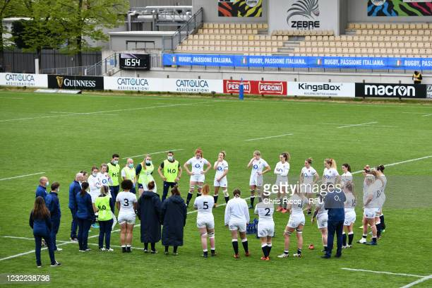 England team after the match during the Women's Six Nations match between Italy and England at Stadio Sergio Lanfranchi on April 10, 2021 in Parma,...