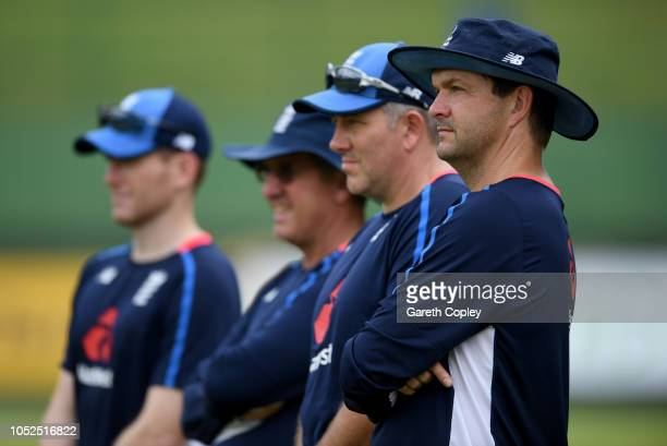 England team analyst Nathan Leaman watches nets during a nets session at Pallekele Cricket Stadium on October 19, 2018 in Kandy, .