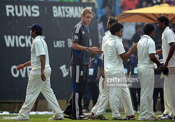 England team captain Stuart Broad greets Mumbai 'A' players after the three day cricket practice match between Mumbai 'A' and England ended in a draw...
