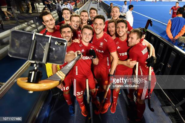 England team celebrate after their win during the FIH Men's Hockey World Cup Crossover match between England and New Zealand at Kalinga Stadium on...