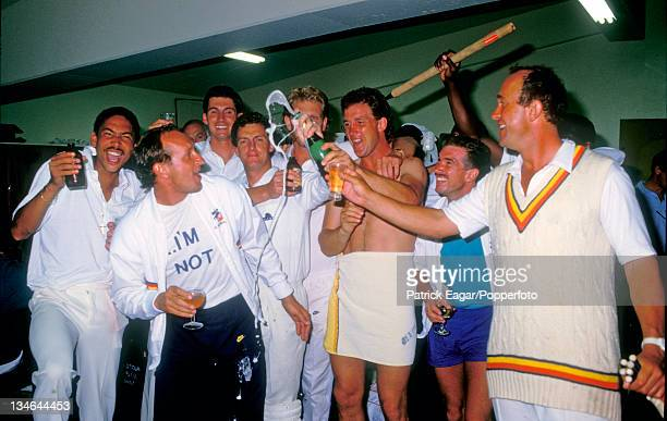 England team celebrate the Ashes l to r: Phil DeFreitas, Bill Athey , Neil Foster, Jack Richards, Graham Dilley, Chris Broad, Bruce French, Wilf...