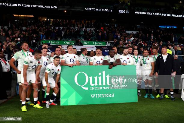 England team celebrate their victory following the Quilter International match between England and South Africa at Twickenham Stadium on November 3...