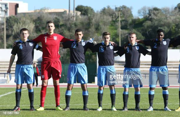 England team during national anthem during the Under17 Algarve Youth Cup match between U17 England and U17 Germany at the Estadio Municipal de Lagos...