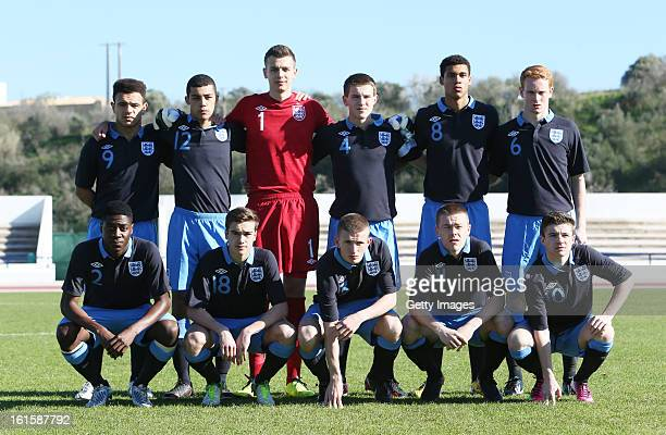 England team during the Under17 Algarve Youth Cup match between U17 England and U17 Germany at the Estadio Municipal de Lagos on February 8 2013 in...