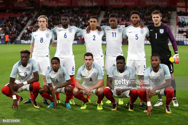 England team group back row left to right Tom Davies Fikayo Tomori Trent AlexanderArnold Demarai Gray Joe Gomez and goalkeeper Freddie Woodman Front...