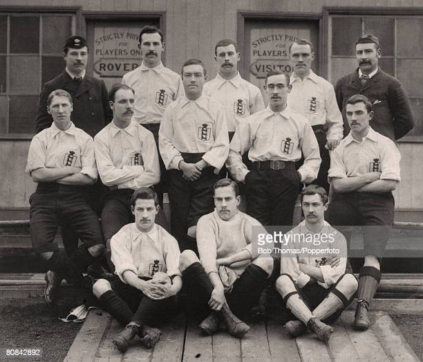 England team group before the match against Scotland played at Blackburn on the 6th April 1891 England won 21 Left to Right Back Row S Widdowson...