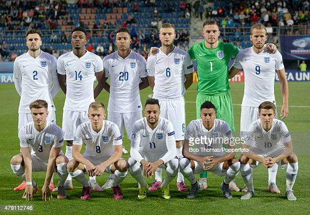 England team group before the UEFA Under21 European Championship 2015 Group B match between England and Portugal at Mestsky Fotbalovy Stadium on June...