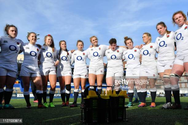 England team huddle after the Wales Women and England Women match in the Women's Six Nations at Cardiff Arms Park on February 24 2019 in Cardiff Wales