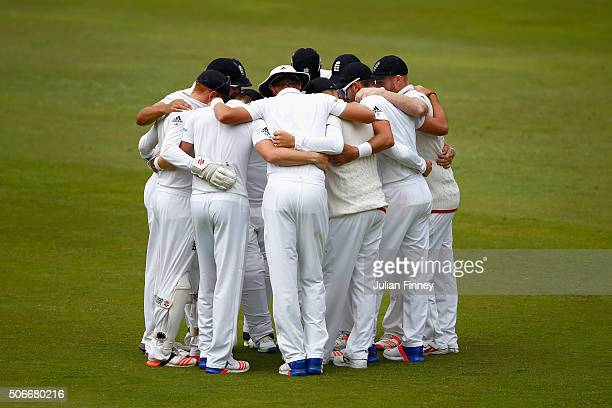 England team huddle before play during day four of the 4th Test at Supersport Park on January 25 2016 in Centurion South Africa