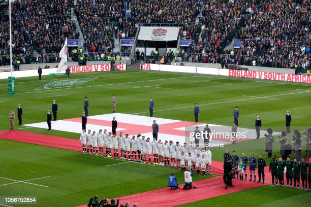 England team line up as they sing the national anthem ahead of the Quilter International match between England and South Africa at Twickenham Stadium...
