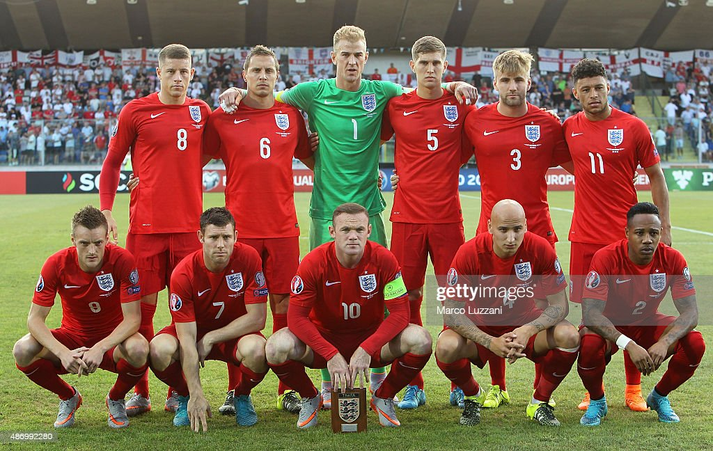 England team line up before the UEFA EURO 2016 Qualifier between San Marino and England at Stadio Olimpico on September 5, 2015 in San Marino, Italy.