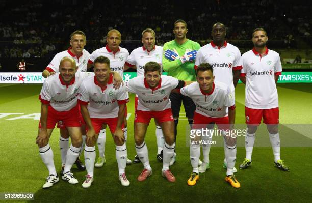 England team line up during the match between England and Spain in the Star Sixe's at The O2 Arena on July 13 2017 in London England