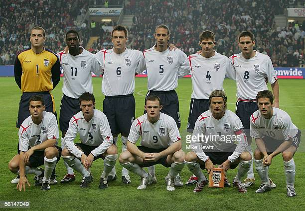 England team line up prior to the International friendly match between England and Argentina at the Stade de Geneve on November 12 2005 in Geneva...