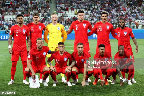 England team lines up prior to the 2018 FIFA World Cup Russia group G match between Tunisia and England at Volgograd Arena on June 18 2018 in...
