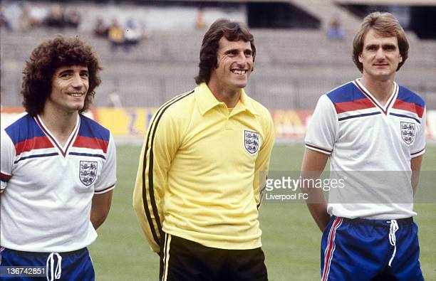 England team members Kevin Keegan Ray Clemence and Phil Thompson pose during the official England World Cup squad photocall held on June 11 1982 in...