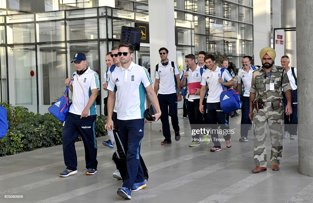England team players come outside from the Mohali International Airport on November 22 2016 near Chandigarh India