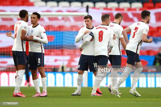 England team players interact ahead of the UEFA Nations League group stage match between England and Belgium at Wembley Stadium on October 11, 2020...