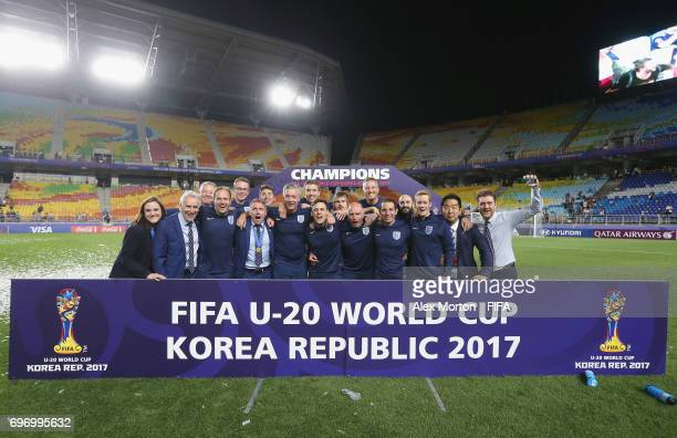 England team staff celebrate after the FIFA U20 World Cup Korea Republic 2017 Final match between Venezuela and England at Suwon World Cup Stadium on...