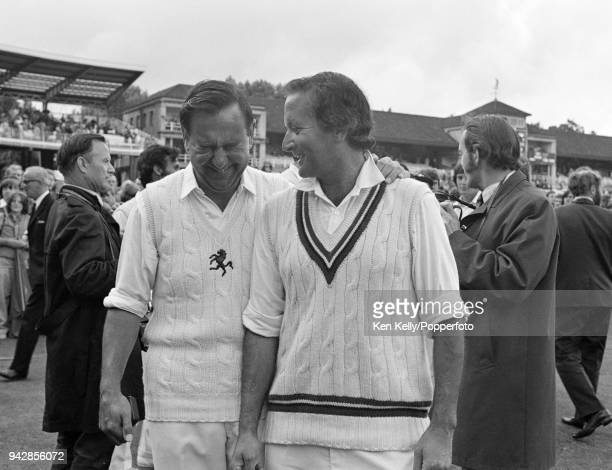 England teammates Basil D'Oliveira of Worcestershire and Colin Cowdrey of Kent share a joke after the Benson and Hedges Cup Final between Kent and...