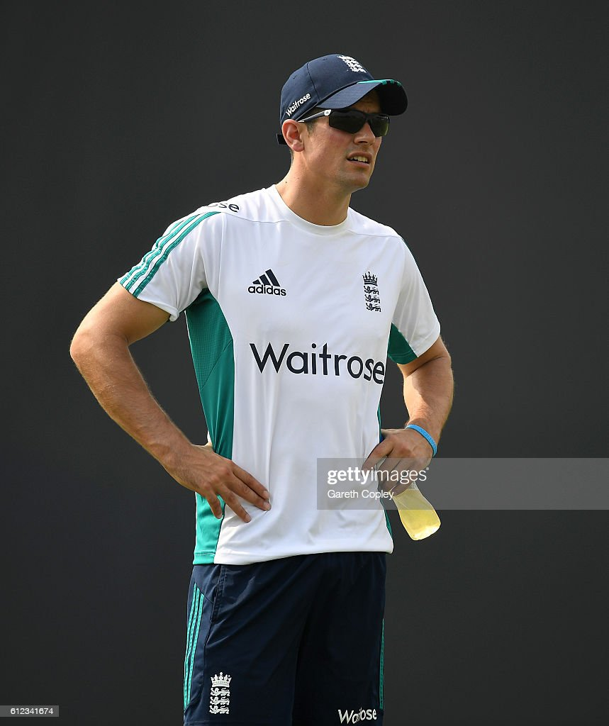 England test captain Alastair Cook watches practice ahead of