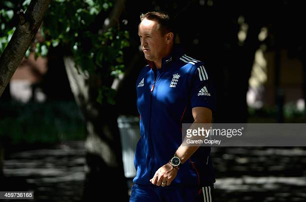 England Test cricket coach Andy Flower arrives for a press conference on December 30 2013 in Melbourne Australia