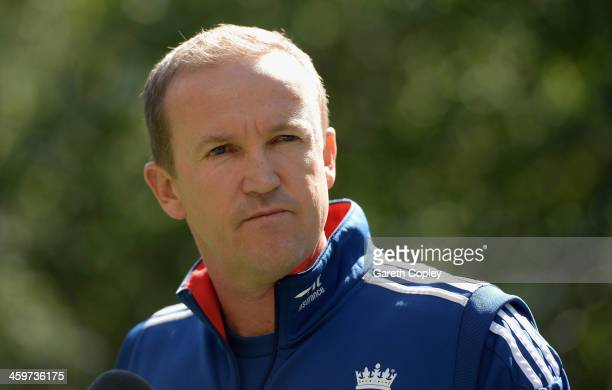 England Test cricket coach Andy Flower speaks to the media during a press conference on December 30 2013 in Melbourne Australia
