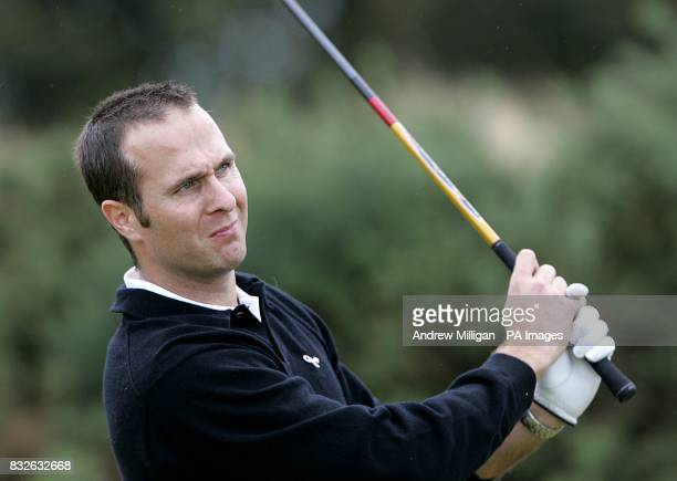 England test cricket player Michael Vaughn during a practice session at Kingsbarns Golf Course Fife
