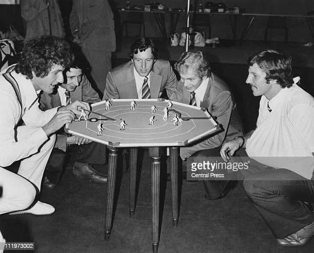 England test cricketers enjoy a game of table cricket at Lords in London before flying to Australia for a series of matches 24th October 1978 From...