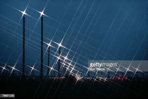 England The lights at Manchester Airport shine in the night sky