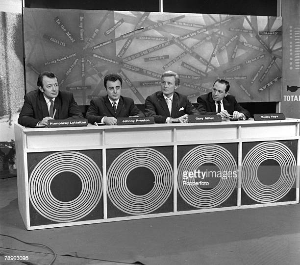 England The panel are pictured on the television gameshow Jukebox Jury They are LR Humphrey Lyttelton Johnny Preston Gary Miller and Buddy Kaye