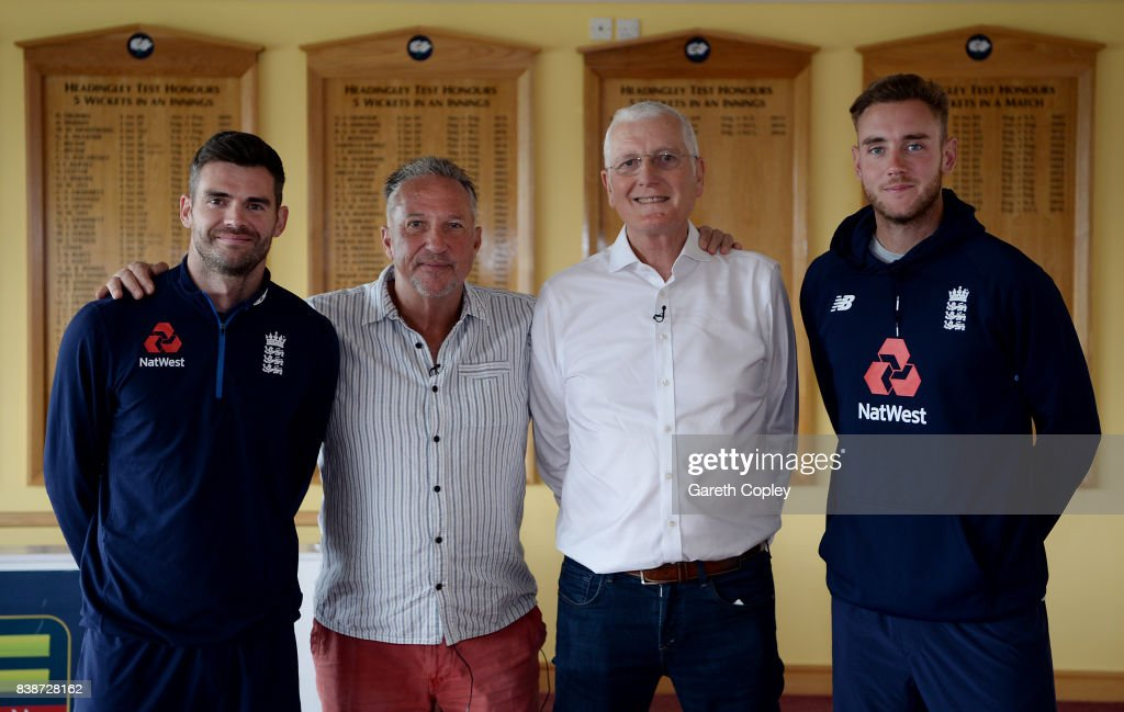 England top four leading wicket takers James Anderson, Sir Ian Botham, Bob Willis and Stuart Broad at Headingley on August 24, 2017 in Leeds, England.
