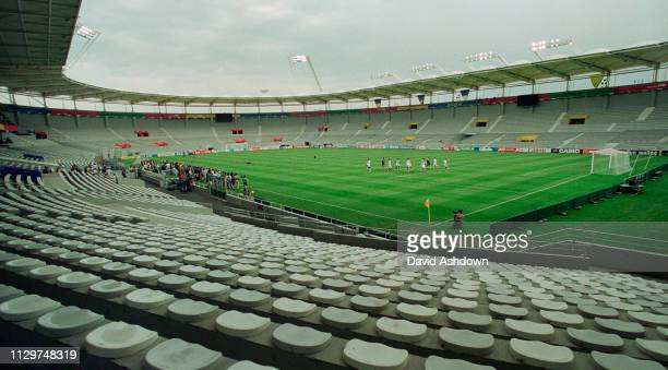 England training at the State Le Municipal for their match with Romania. 20th June 1998. FIFA World Cup in France.