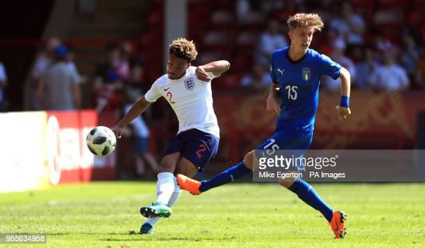 England U17's Dylan Crowe and Italy U17's Nicolo Fagioii battle for the ball during the UEFA European U17 Championship Group A match at Banks's...
