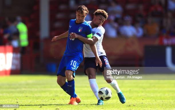 England U17's Dyland Crowe and Italy U17's Alessio Riccardi battle for the ball during the UEFA European U17 Championship Group A match at Banks's...