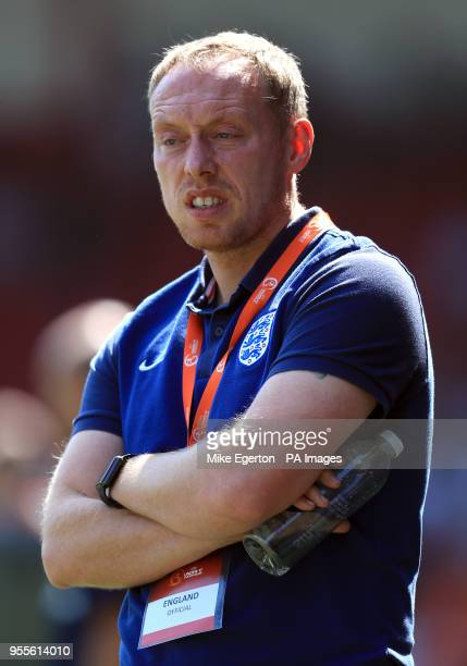 England U17's manager Steven Cooper during the UEFA European U17 Championship Group A match at Banks's Stadium Walsall