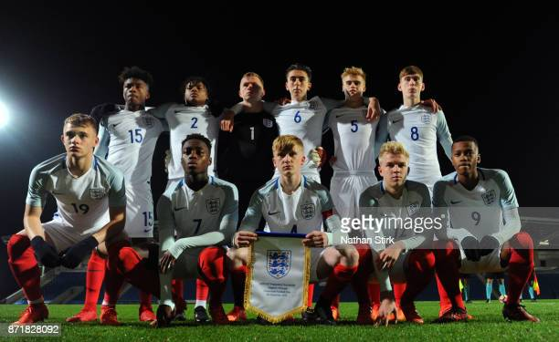 England U17s pose for a photograph before the International Match between England U17 and Portugal U17 at Proact Stadium on November 8 2017 in...
